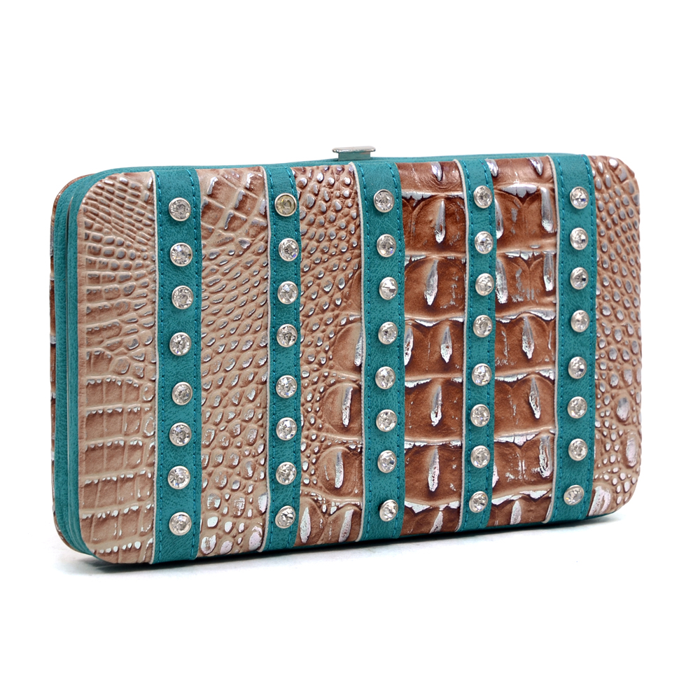 Fashlets Generic Rhinestone Striped Croco Wallet