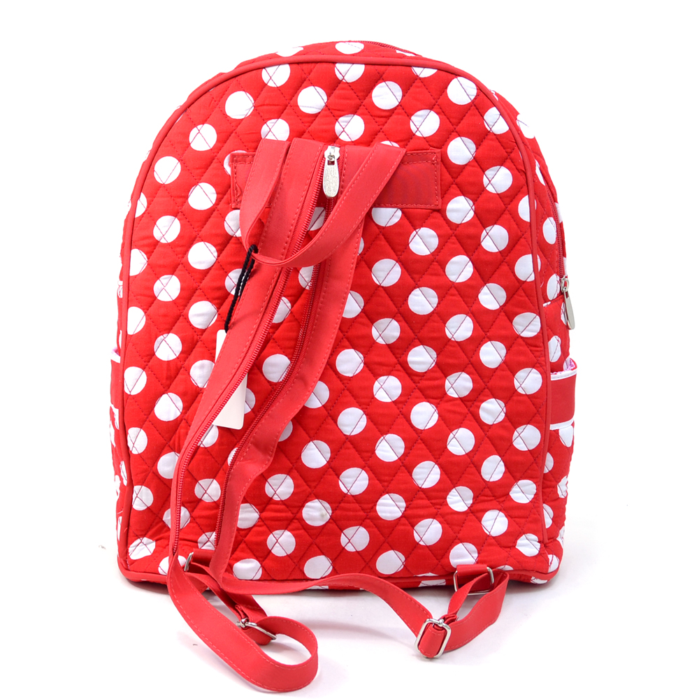 Fashlets Generic Quilted White Polka Dot Backpack