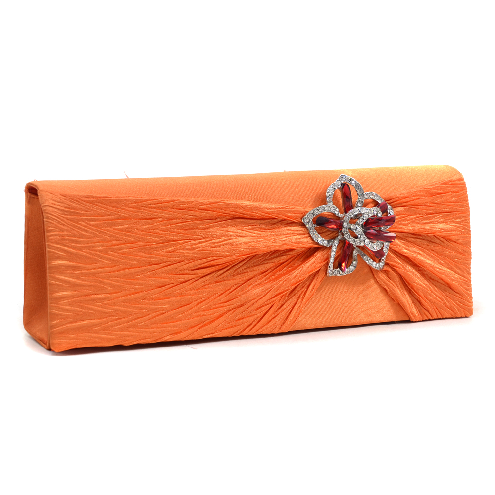 Rhinestone Flower Accented Clutch
