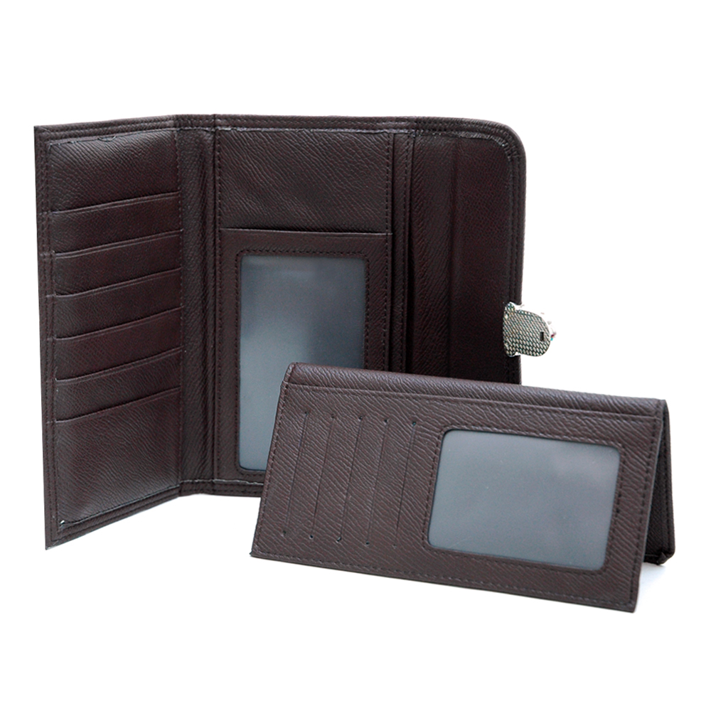 Dasein Faux Leather Tri-fold Checkbook Wallet with Buckle