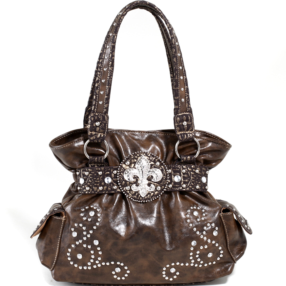 Love Creek® Belted Fleur-de-Lis Croco Trim Shoulder Bag