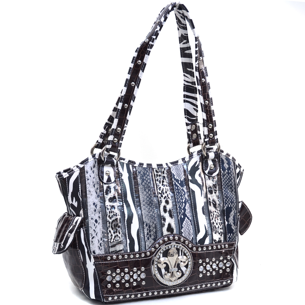Dasein Women's Animal Print Shoulder Bag with Rhinestone Studs and Fleur de Lis Accent