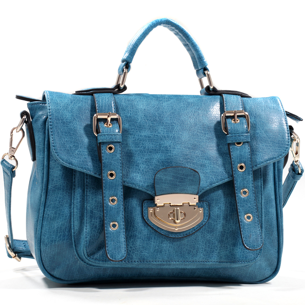 Emperia Belted Satchel with Twist Lock Closure and Bonus Strap - Blue
