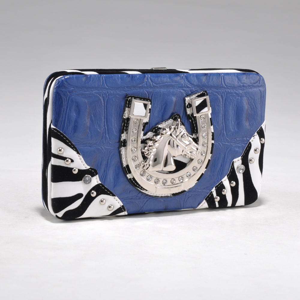 Alyssa Croco Textured Wallet with Zebra Trim and Western Ornament