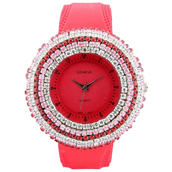Rhinestone Face Watch with Stripe Design - Red