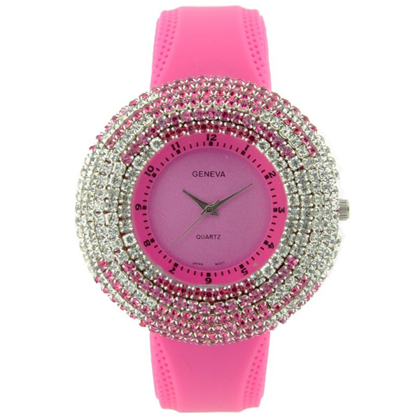 Rhinestone Face Watch with Two-Tone Design - Fuchsia