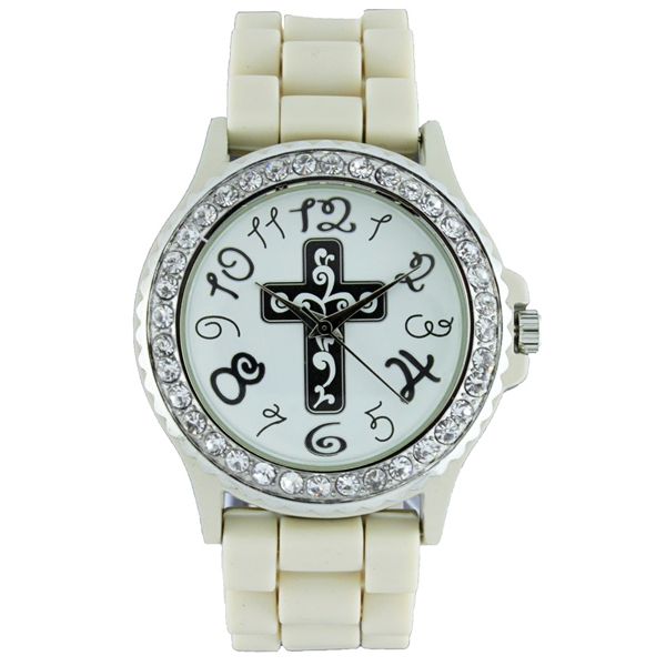 Round Face Silicone Style Watch with Cross Symbol
