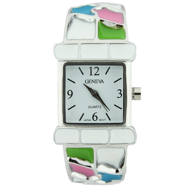 Mosaic Style Bangle Cuff Watch - /Silver