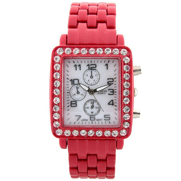 Women's Square Face Rhinestone Watch - Red