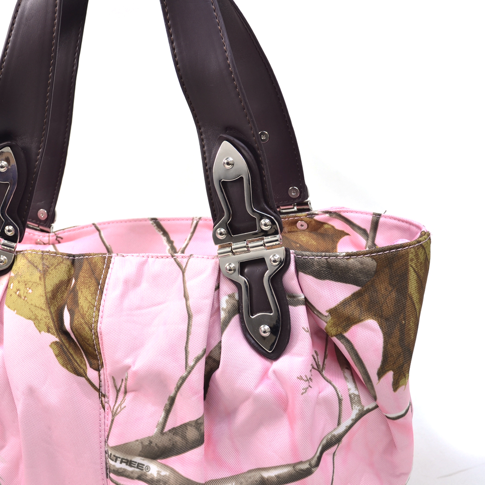 Realtree® APP Pink Camo Leatherette Trim Shoulder Bag