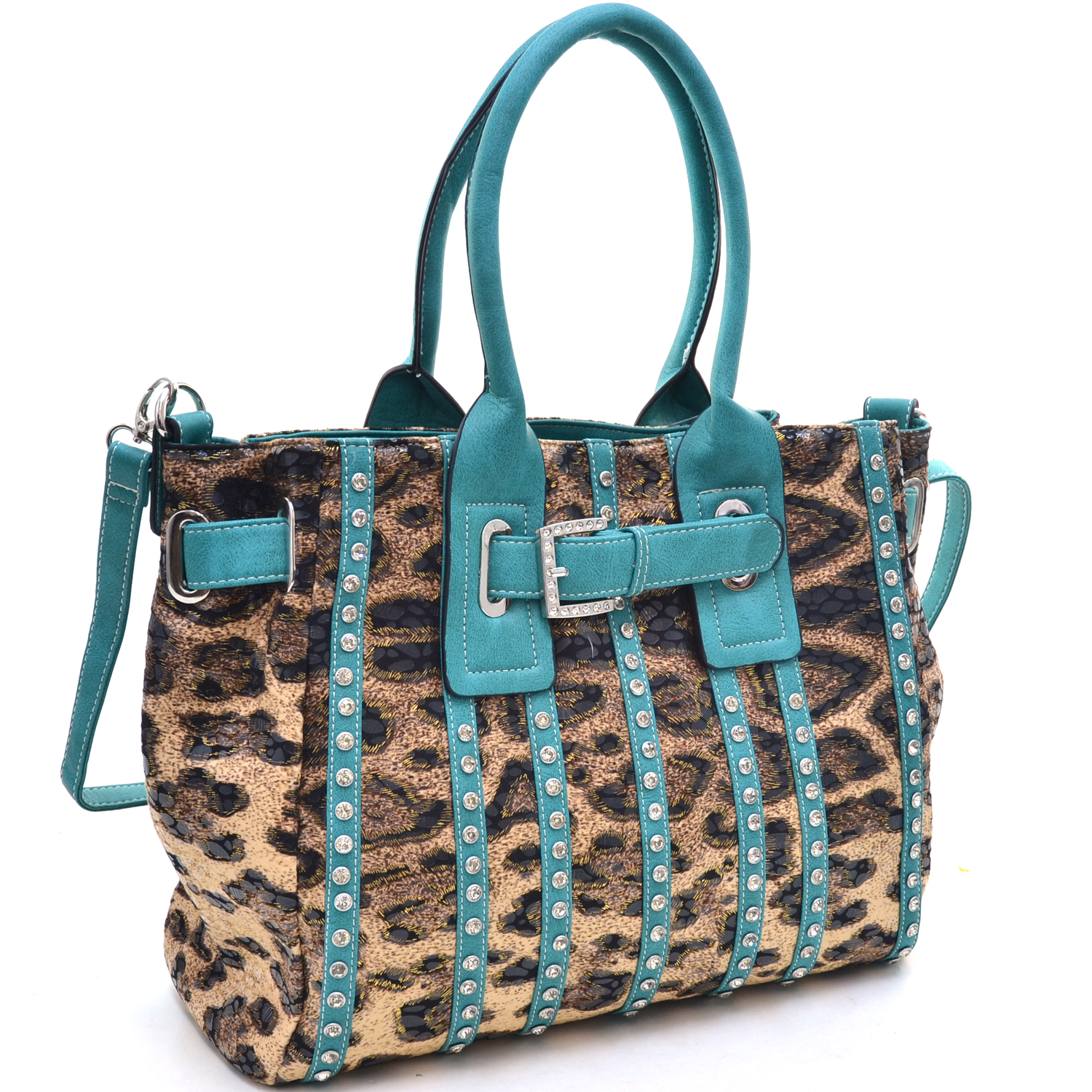 Women's Belted Leopard Print Fashion Tote Bag Striped with Rhinestones - Turquoise