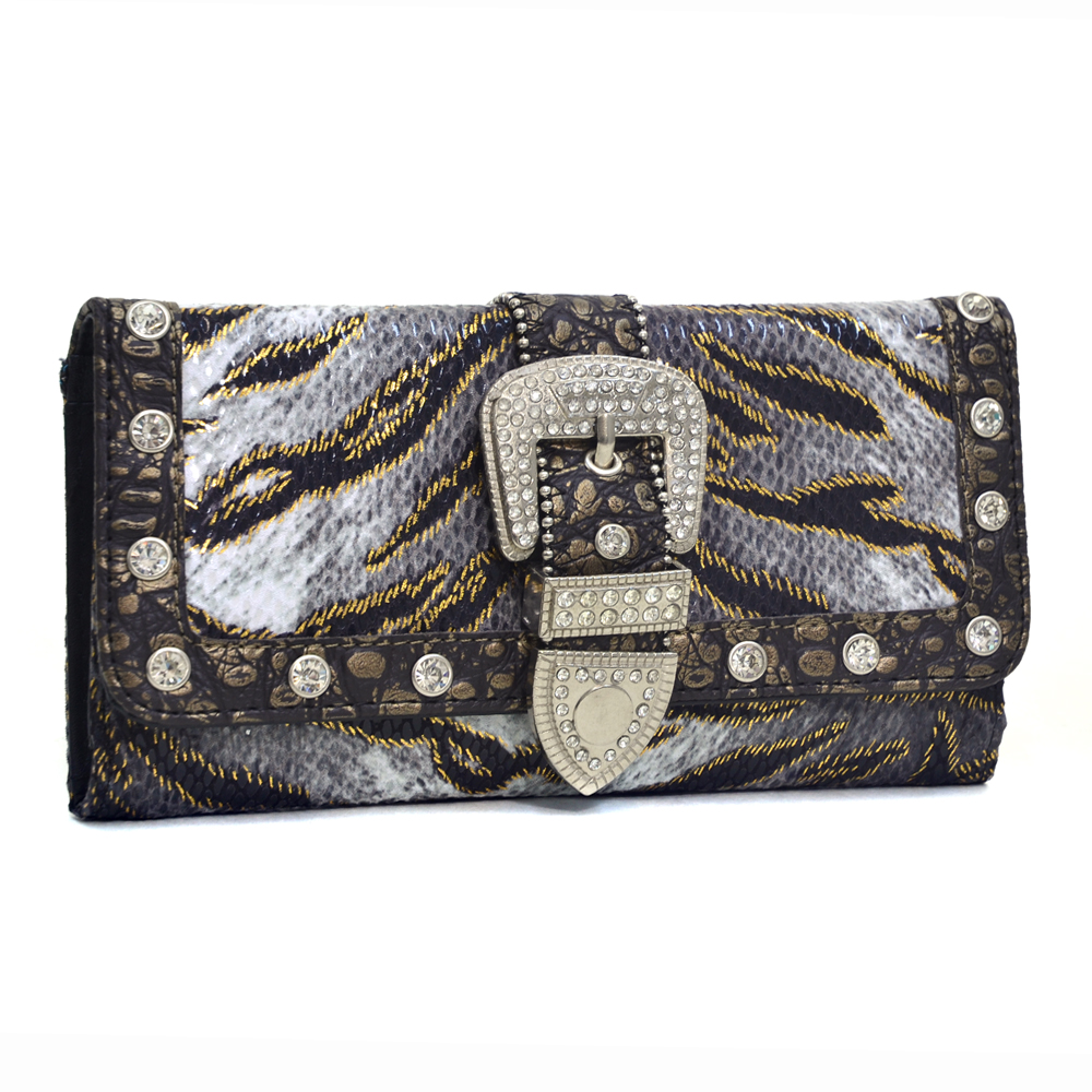 Women's Rhinestone Animal Print Tri-fold Checkbook Wallet with Buckle Accent