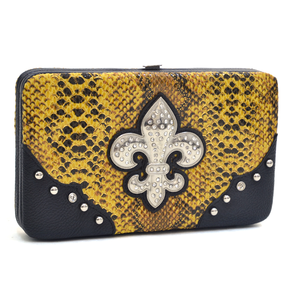 Women's Snakeskin Fashion Frame Wallet with Rhinestone Fleur de Lis  and Studs - Yellow