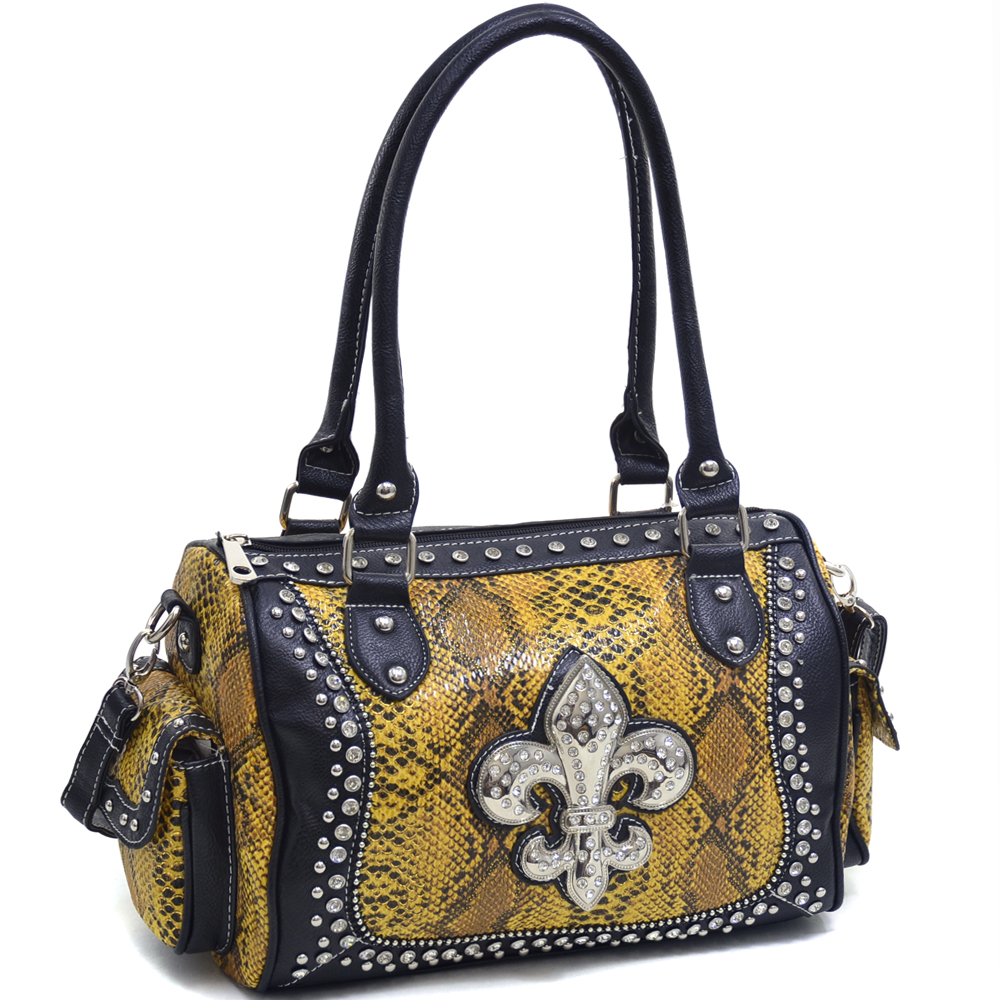 Women's Rhinestone Fleur de Lis Adorned Snakeskin Shoulder Bag with Side Exterior Pockets