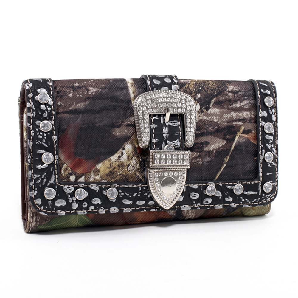 Mossy Oak® Infinity Camo Rhinestone Buckle & Croco Trim Folded Wallet