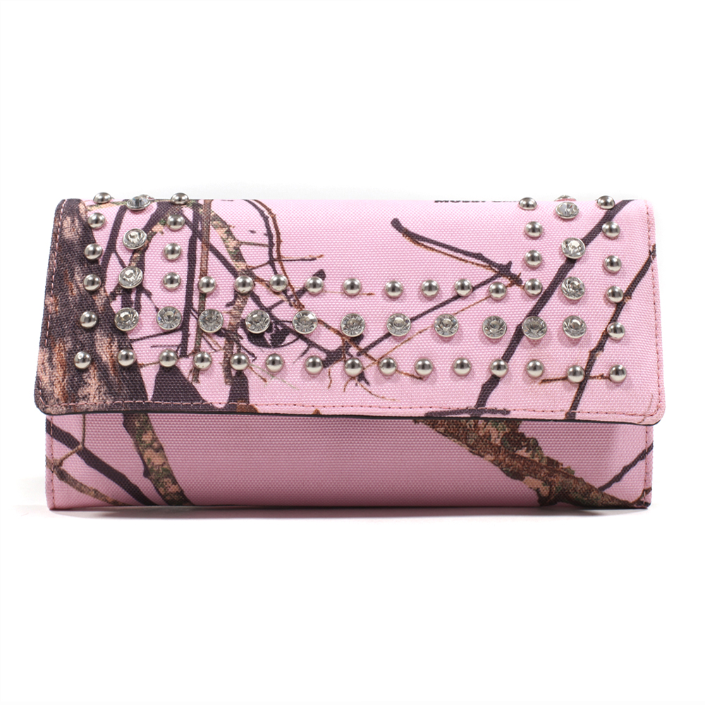 Mossy Oak® Infinity Pink Camo Wallet with Rhinestone & Stud Accents