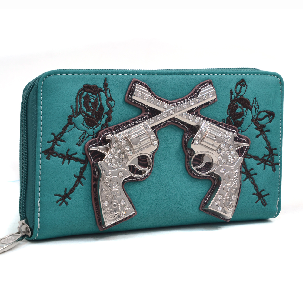 Sassy Western Zip-Around Wallet with Rhinestone Six Shooters and Rose Design