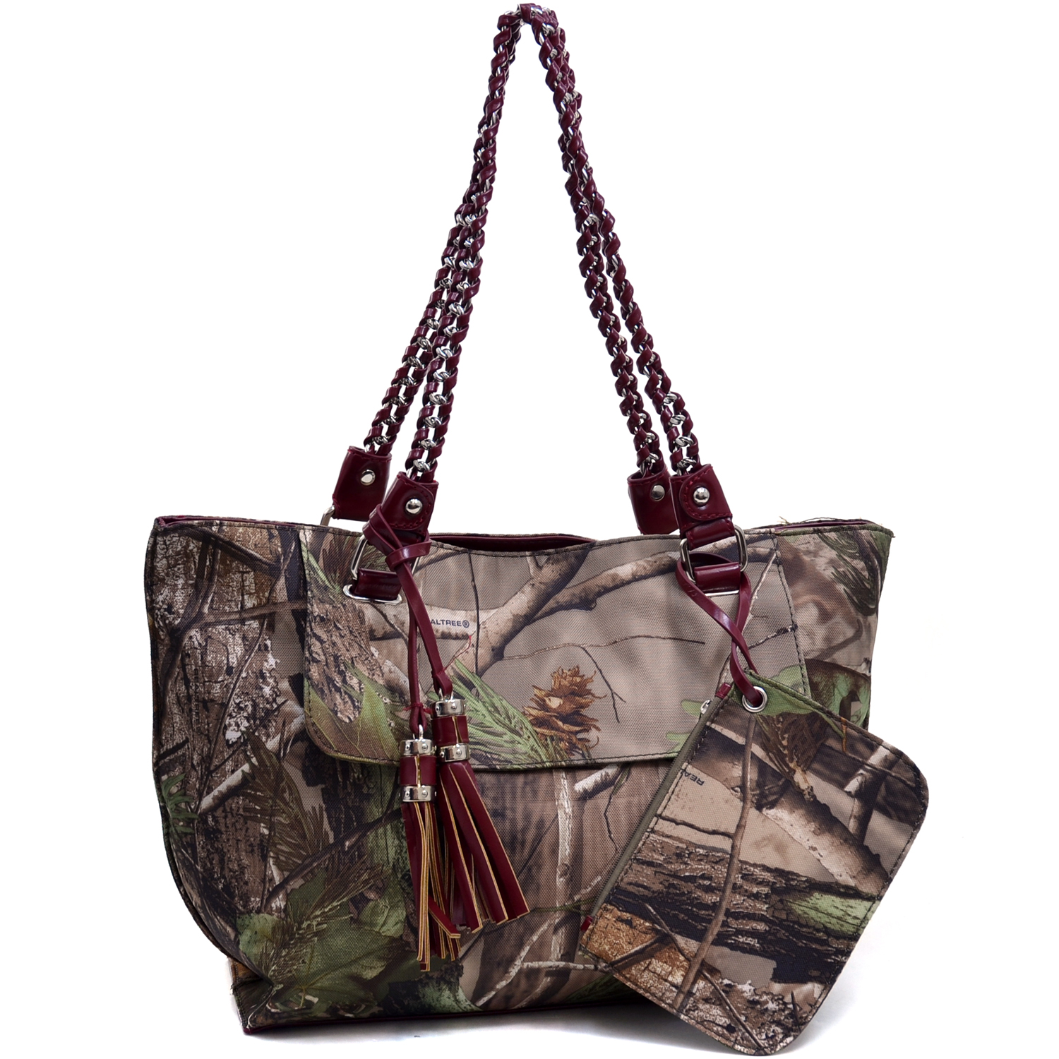 Realtree® camouflage tote bag with coin purse tassels - Camouflage/Red
