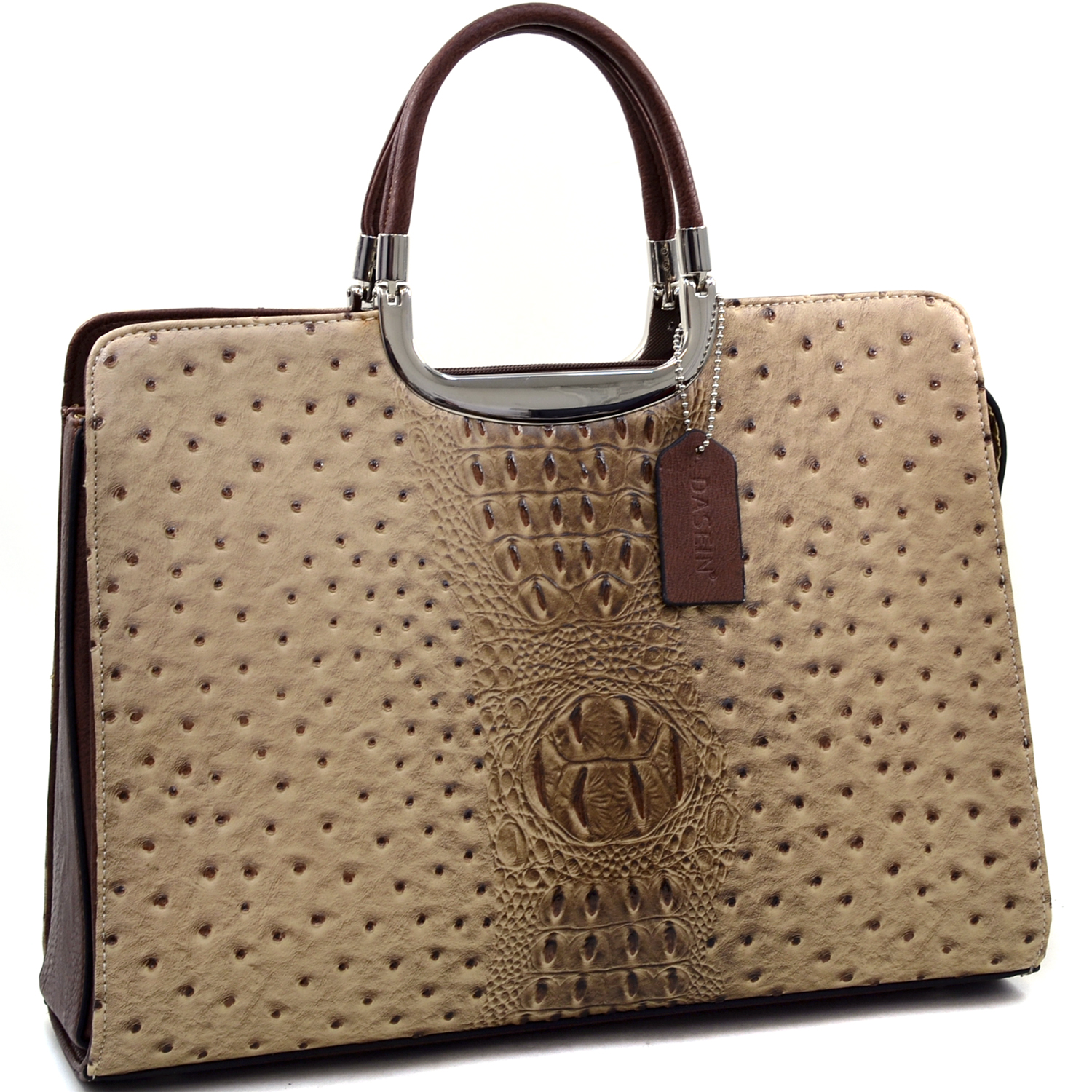 Dasein® Ostrich and Croco Fusion Textured Briefcase