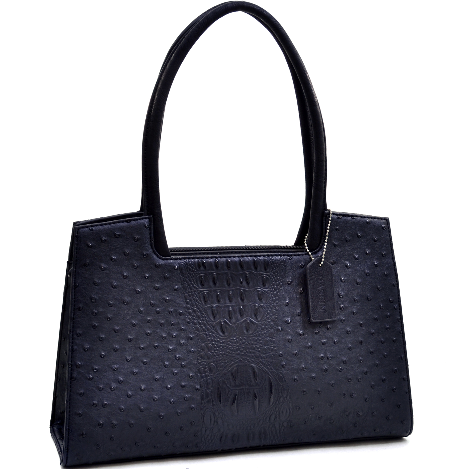Dasein® Ostrich and Croco Fusion Structured Shoulder Bag