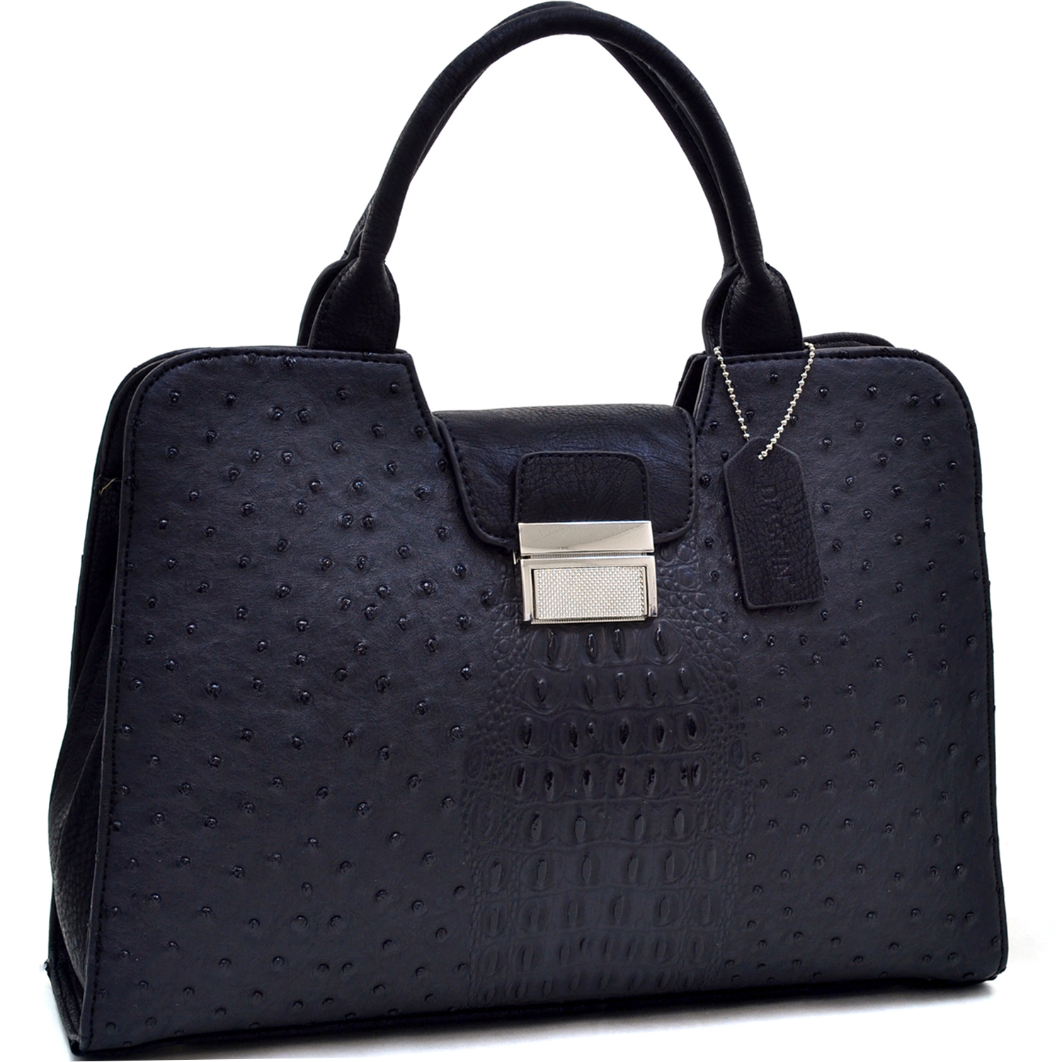 Dasein® Ostrich and Croco Fusion Texture Buckled Satchel
