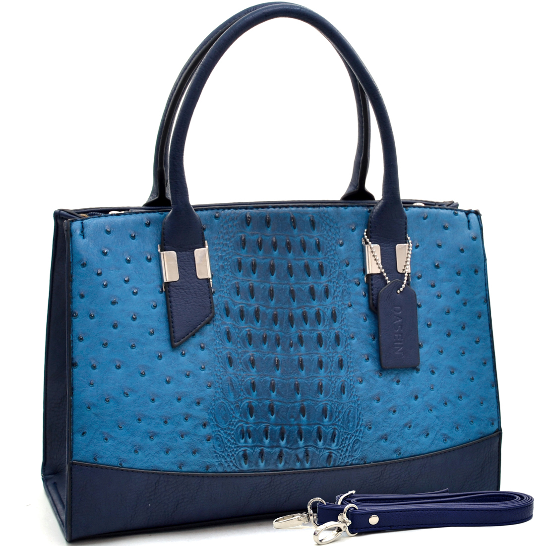Dasein® Ostrich and Croco Fusion Texture Satchel