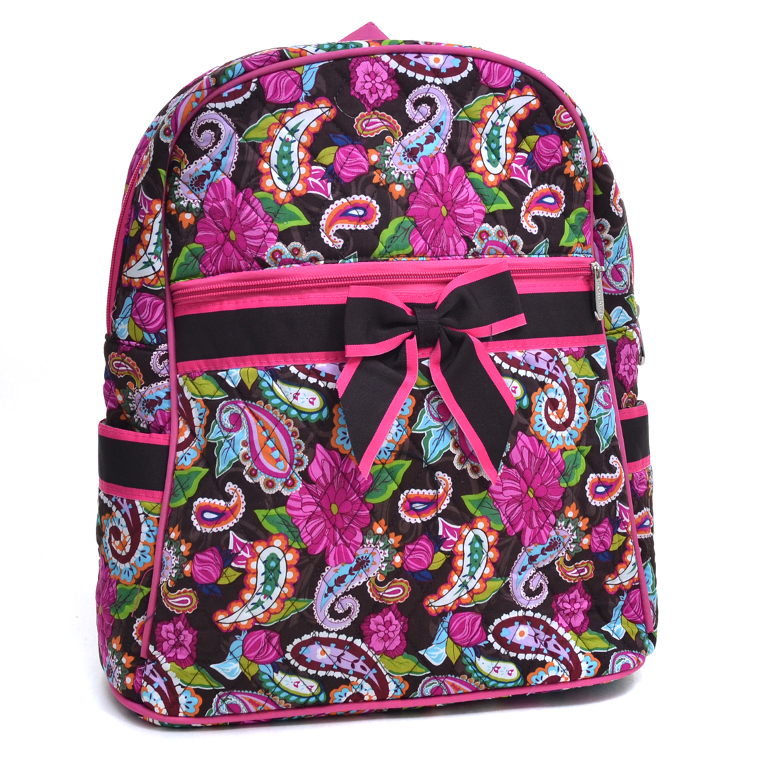 Rosen Blue® Paisley Printed Quilted Backpack - Brown