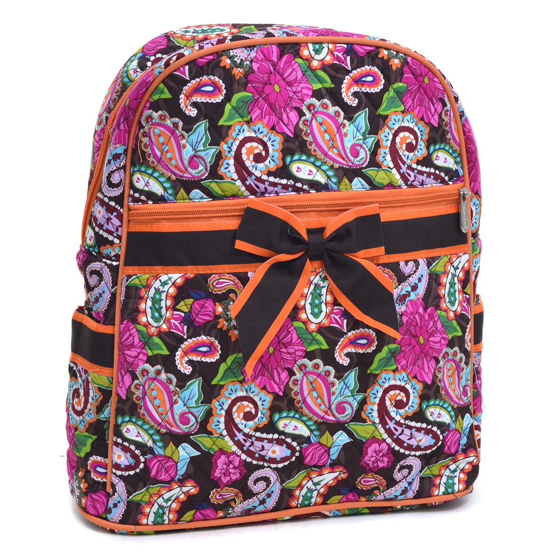 Rosen Blue® Paisley Printed Quilted Backpack - Brown/Orange