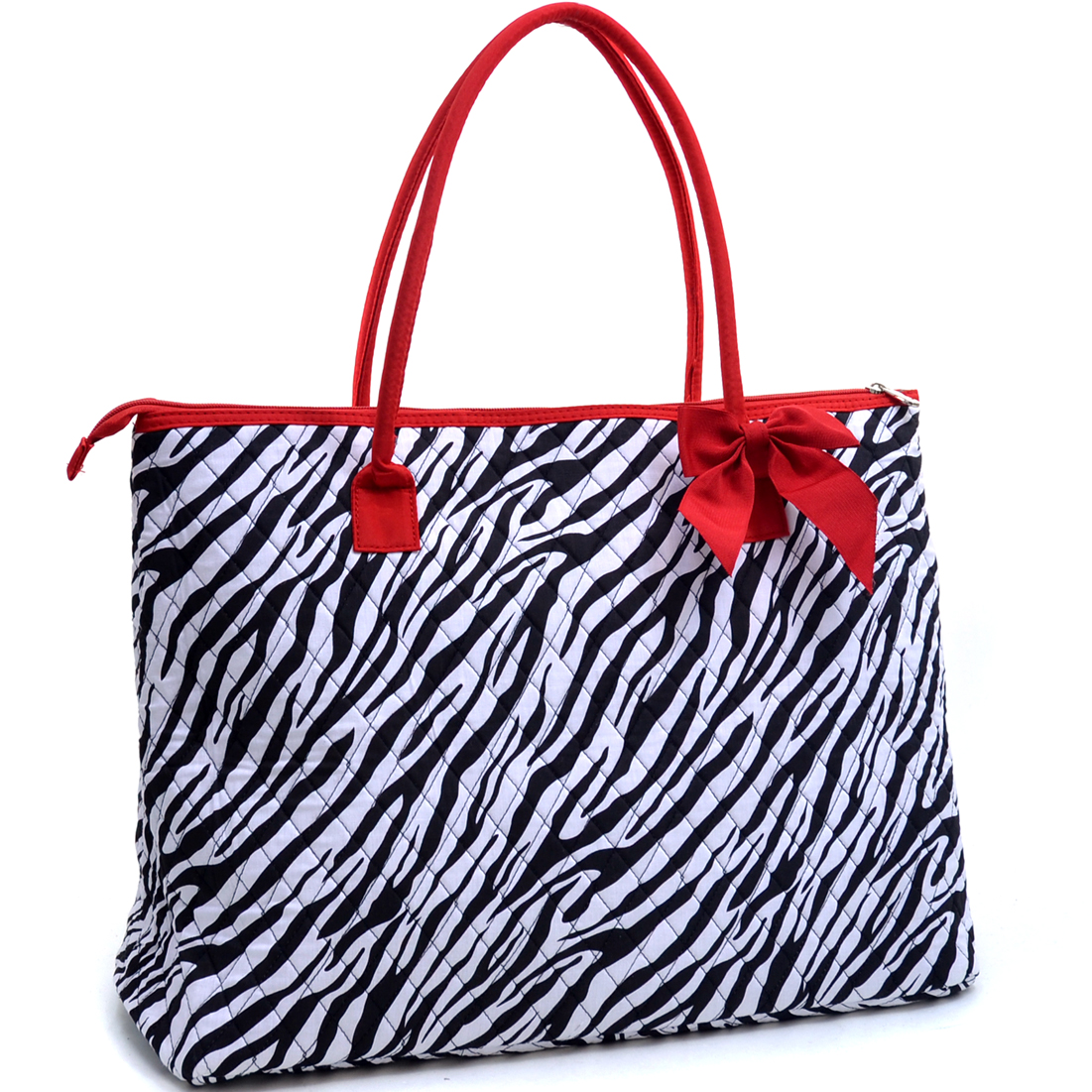 Rosen Blue® Oversized Quilted Tote Bag with Optional Bow Decor in Zebra Print