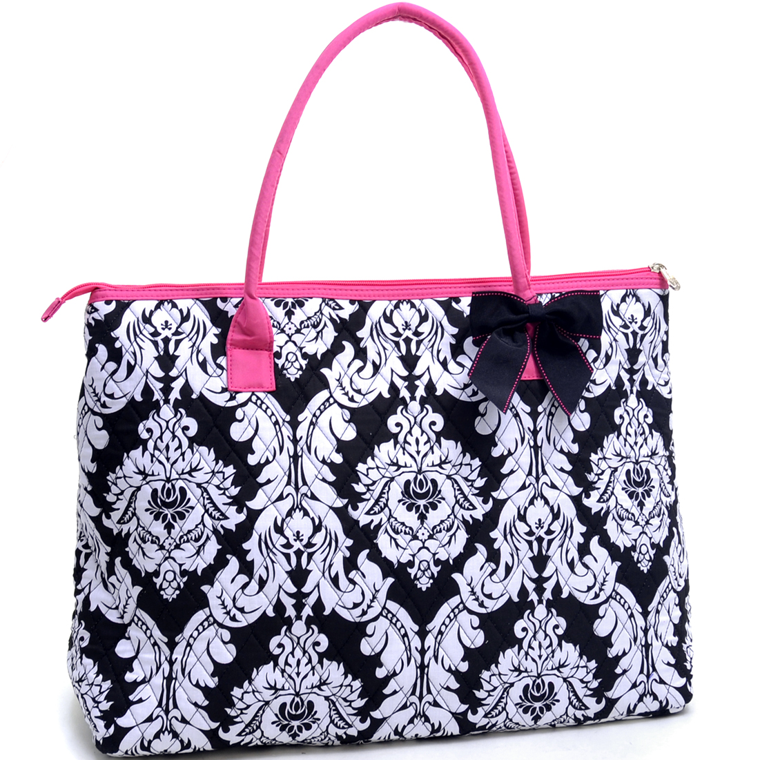Oversized Quilted Tote Bag with Optional Bow Decor in Damask Print