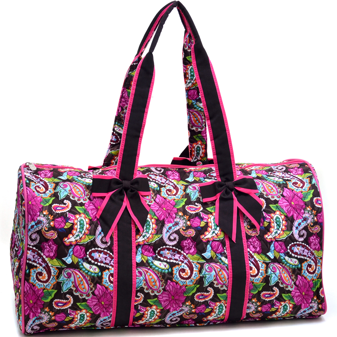 Rosen Blue® Large Quilted Duffle Bag with Bow Decor in Paisley Print