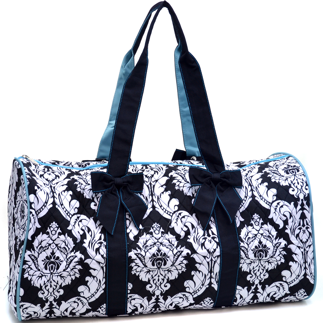 Rosen Blue® Large Quilted Duffle Bag with Bow Decor in Damask Print