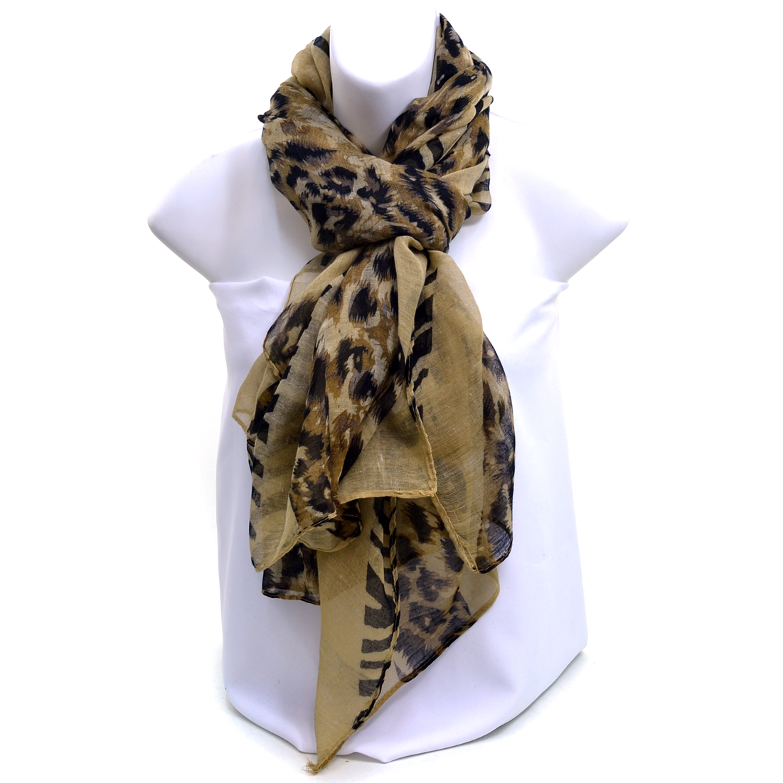 Safari Inspired Fashion Scarf - Light Brown
