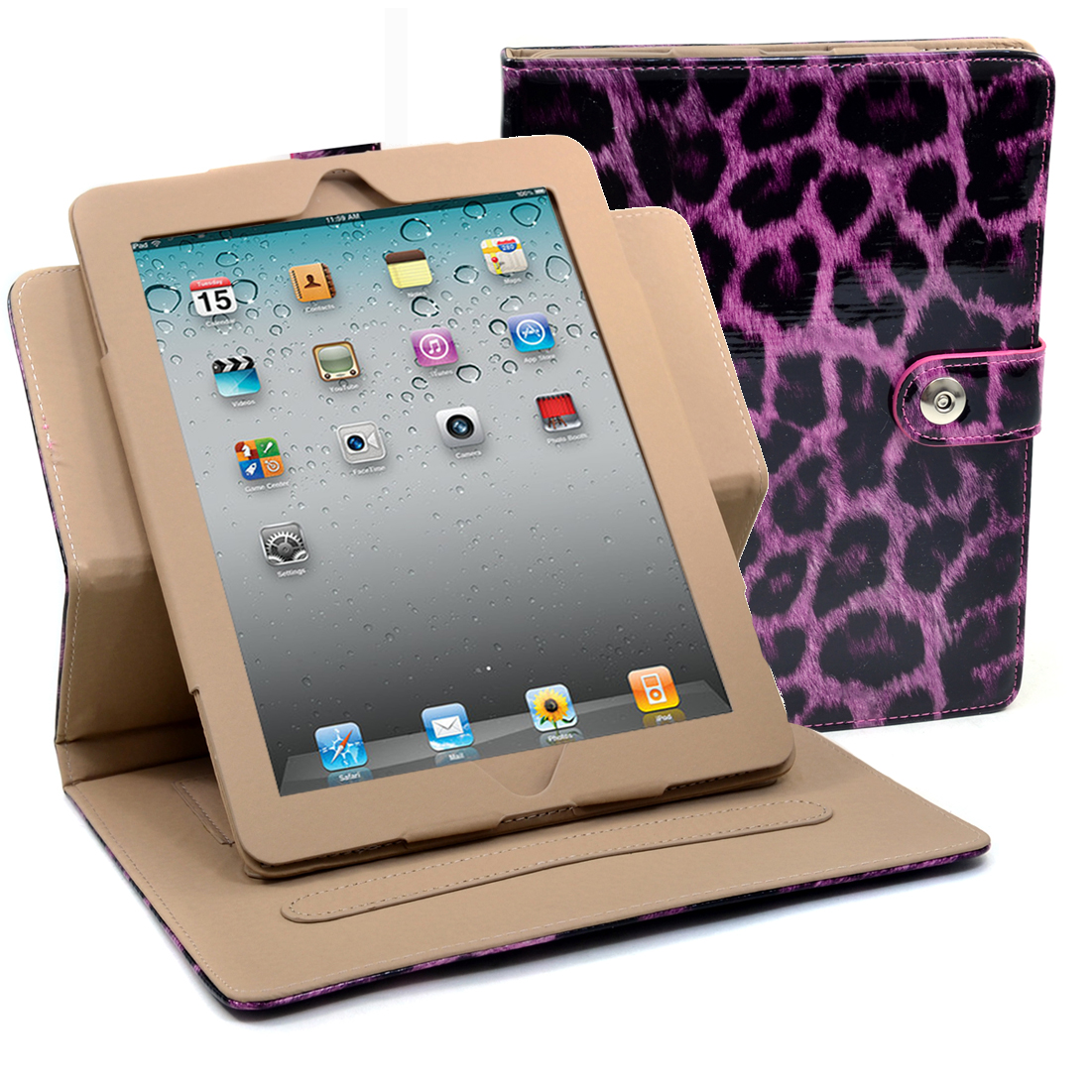 Dasein® Patent Leopard Print iPad Case New Smart Stand Cover for iPad 2 3 4