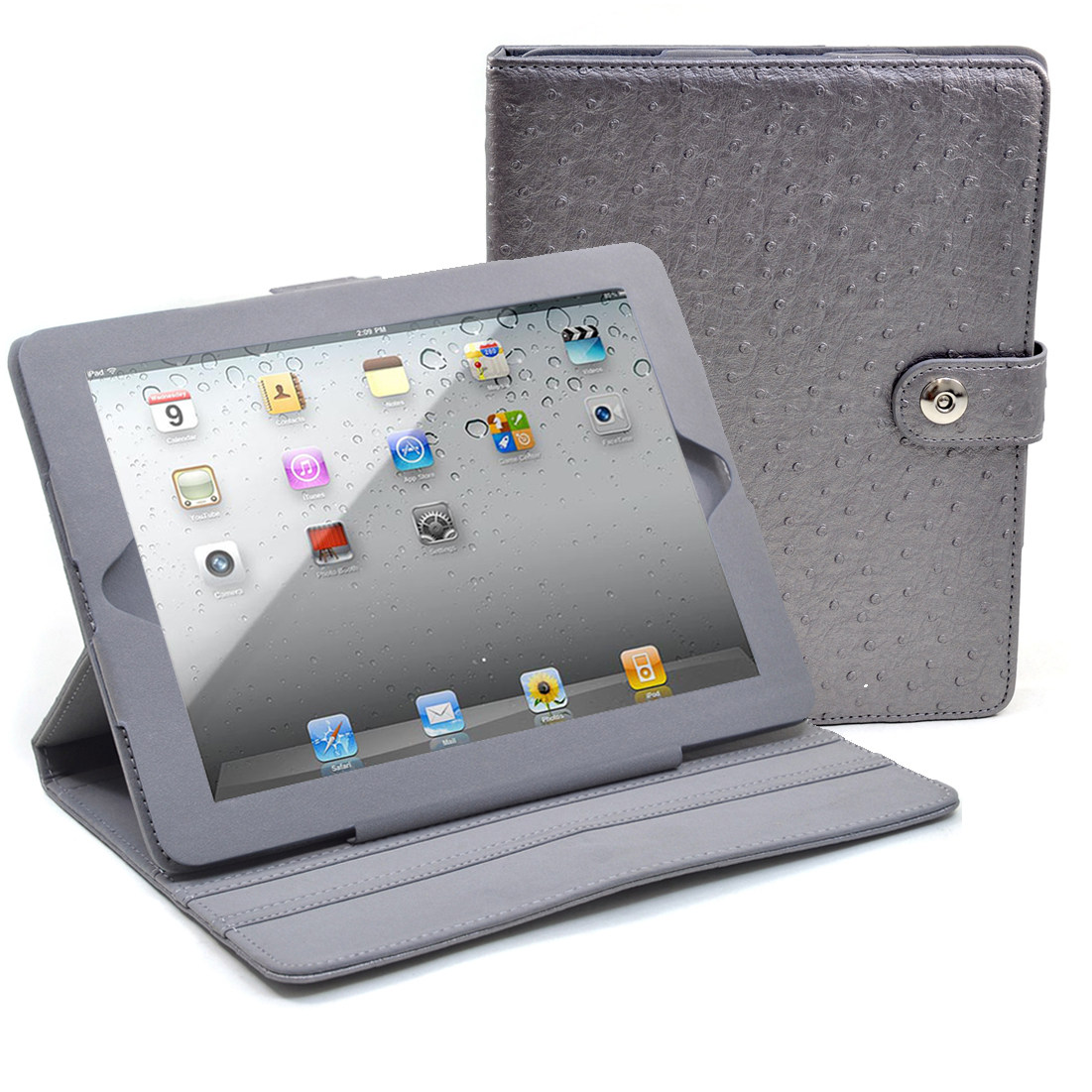Dasein® Faux Ostrich Leather iPad Case New Smart Stand Cover for iPad 2 3 4