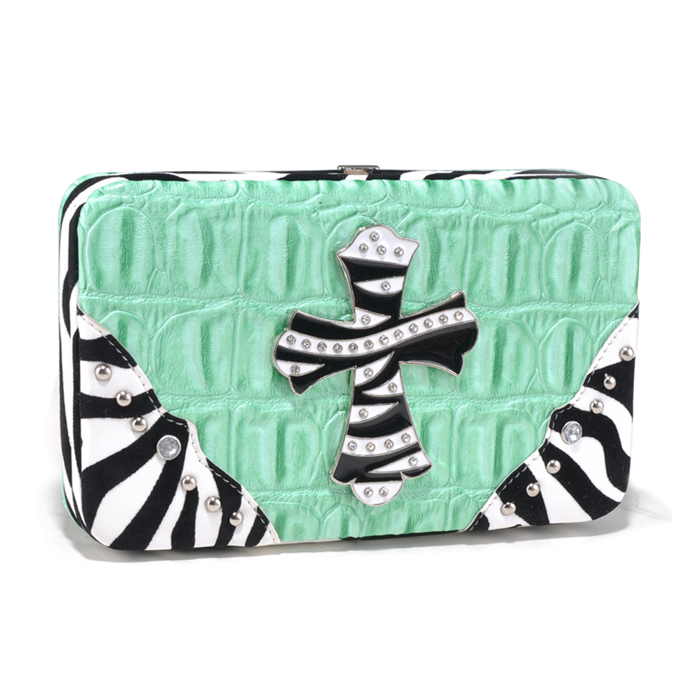 Alyssa Croco Textured Wallet with Zebra Trim and Rhinestone Cross