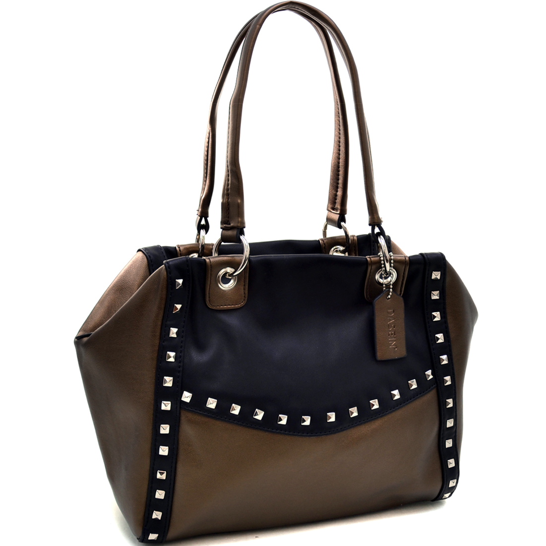 Dasein® Petite Pyramid Studded Two Tone Shoulder Bag