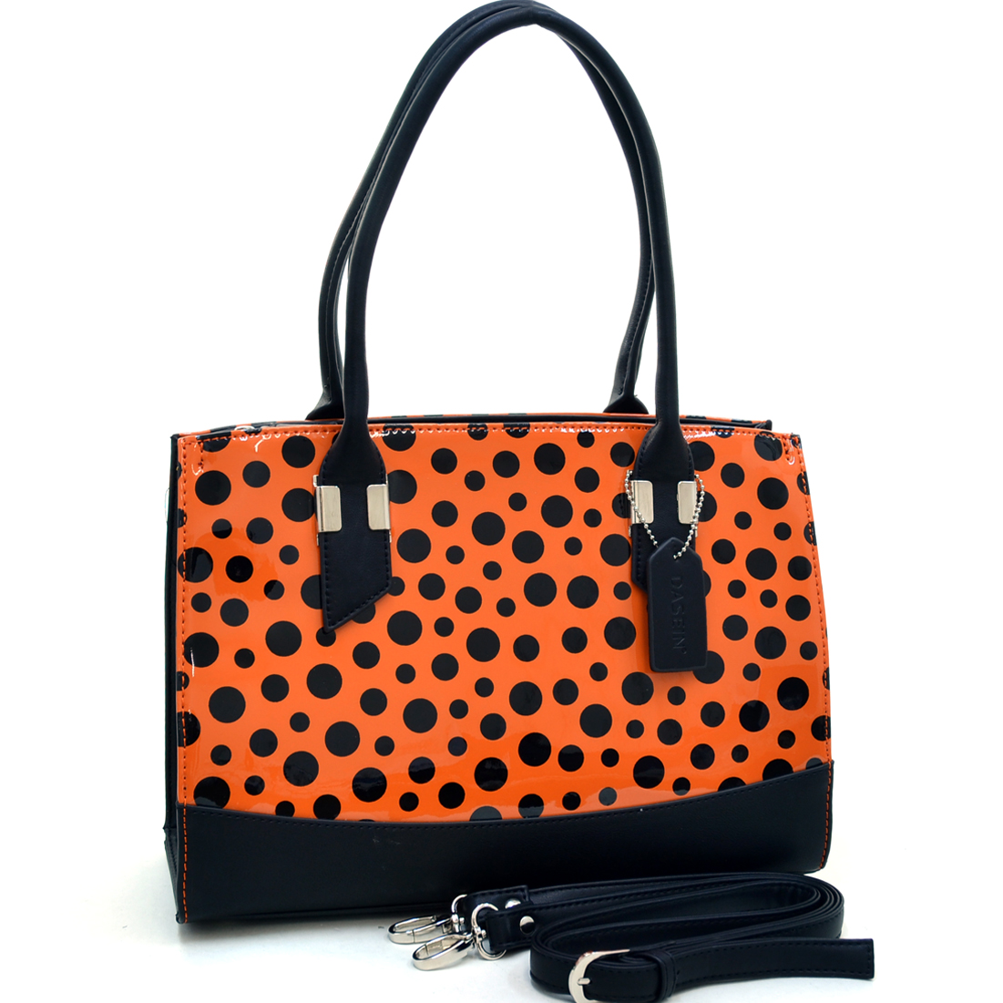 Dasein® Convertible Faux Leather Trimmed Glossy Polka Dot Satchel