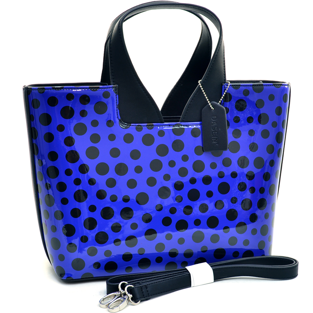 Dasein® Glossy Polka Dot Satchel With Faux Leather Trim