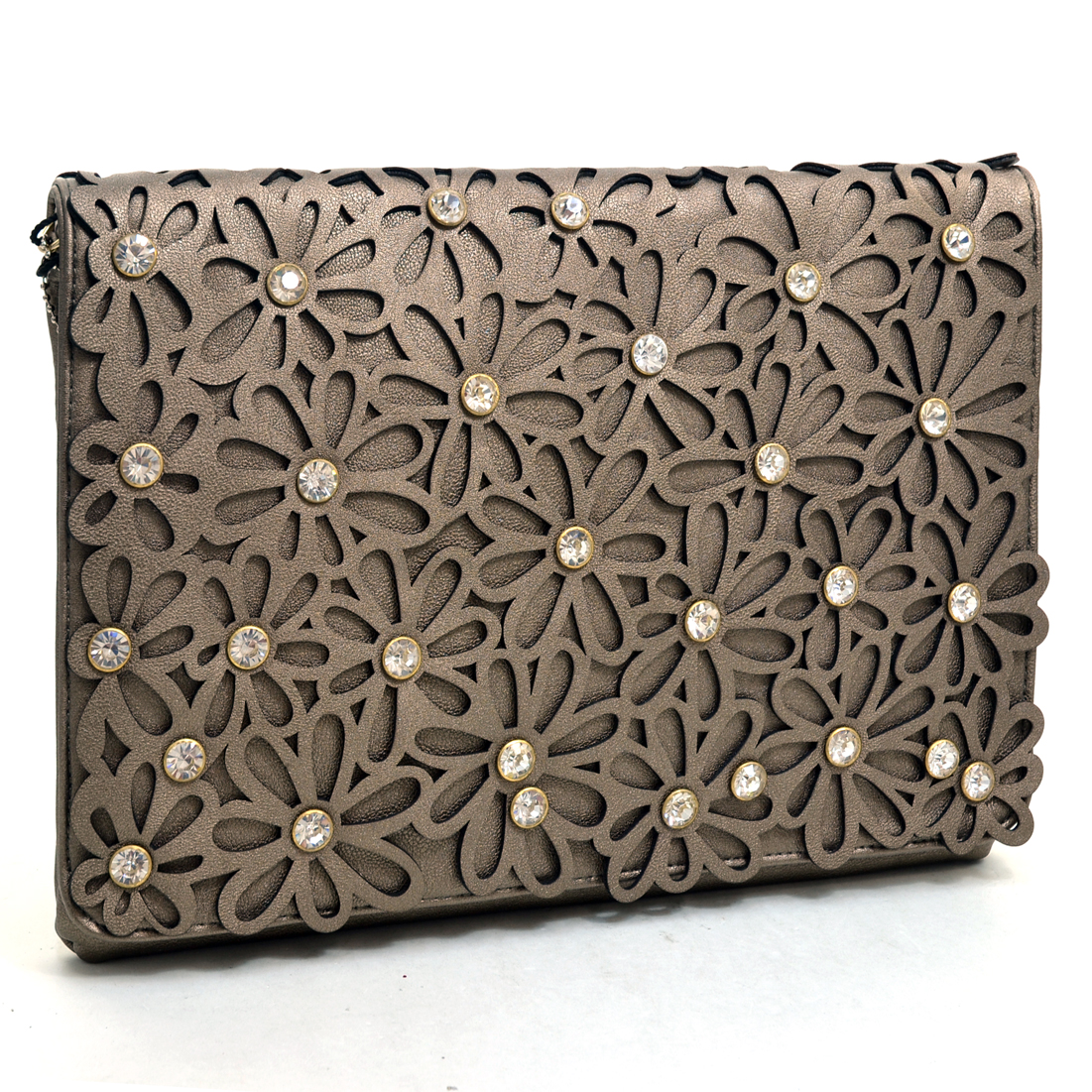 Dasein® Large Floral Cutout Clutch With Rhinestones
