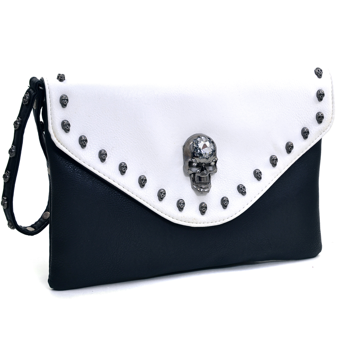 Dasein® Skull Adorned Two Tone Envelope Clutch