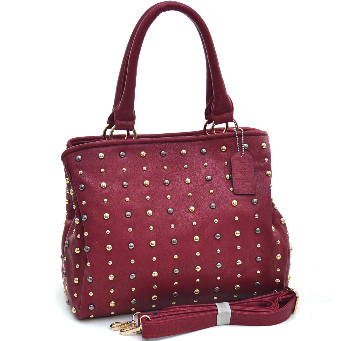 Dasein® Round Dot Studded Satchel