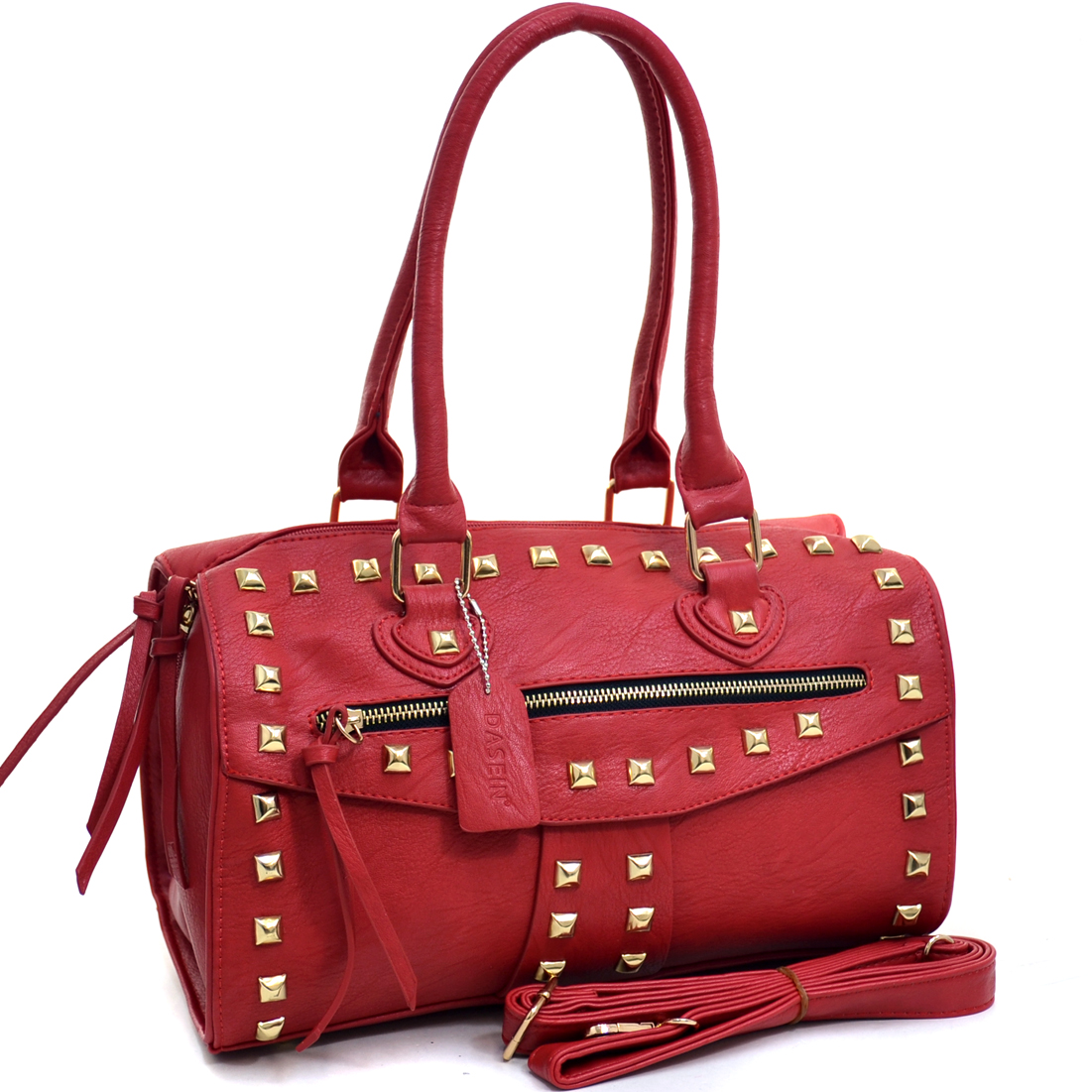 Dasein® Zippered Studded Barrel Satchel