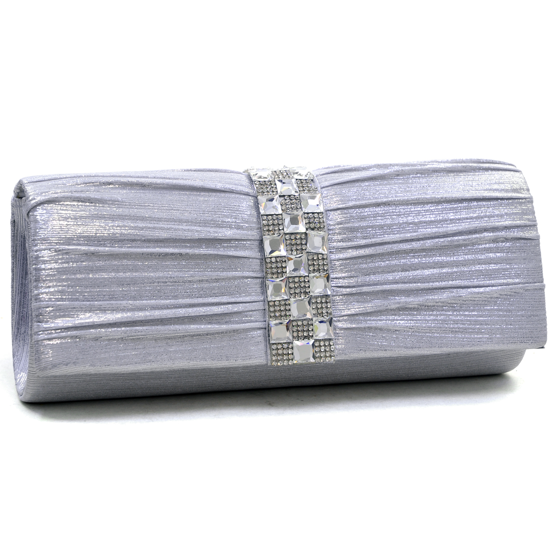 Dasein® Pleated Rhinestone Jewel Evening Clutch