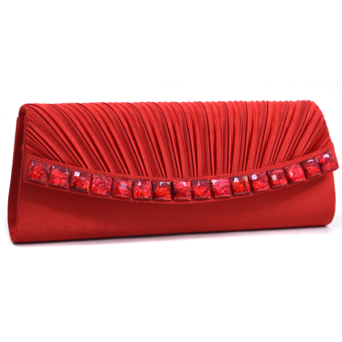 Dasein® Pleated Stone Jewel Evening Clutch