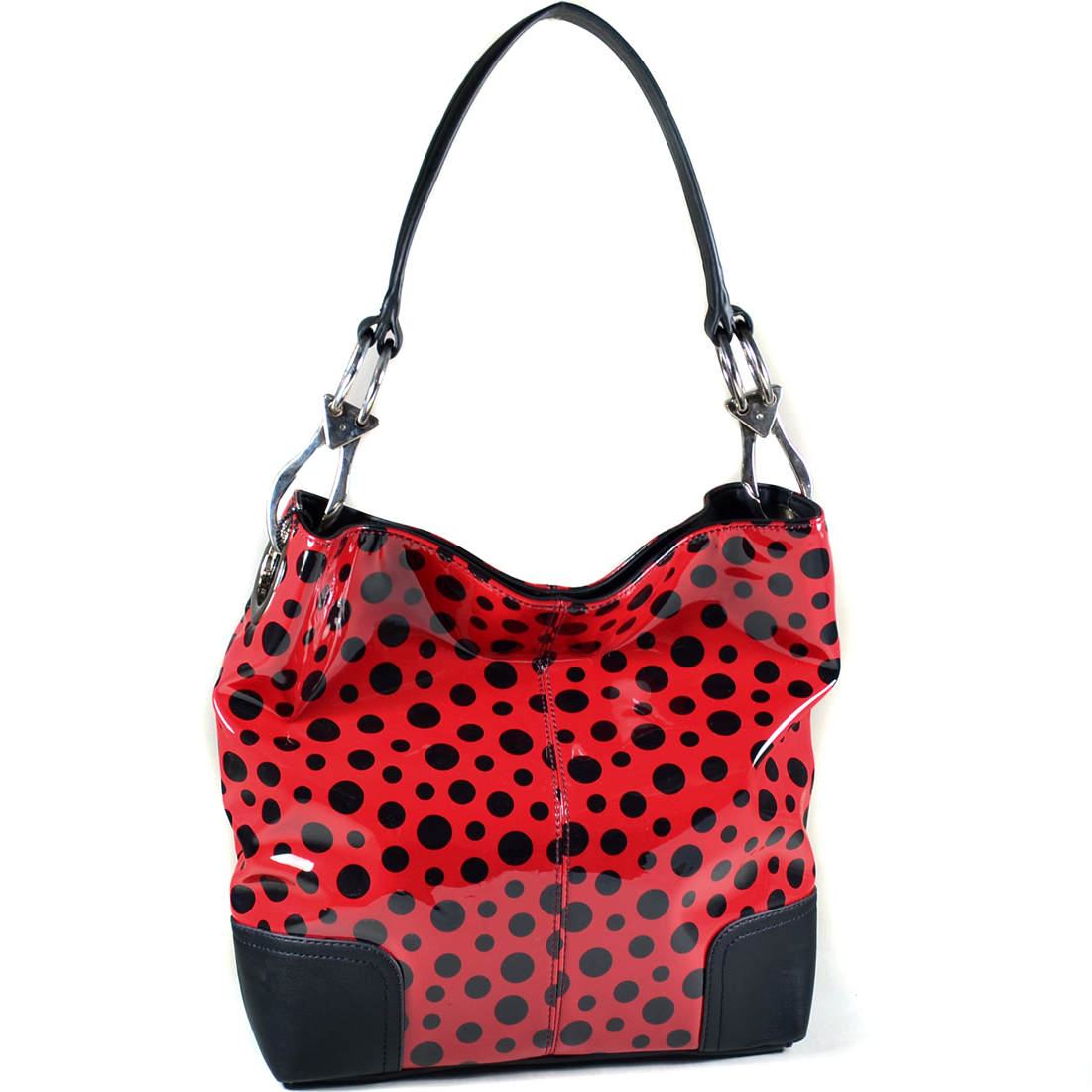 Dasein® Glossy Polka Dot Hobo with Faux Leather Trim