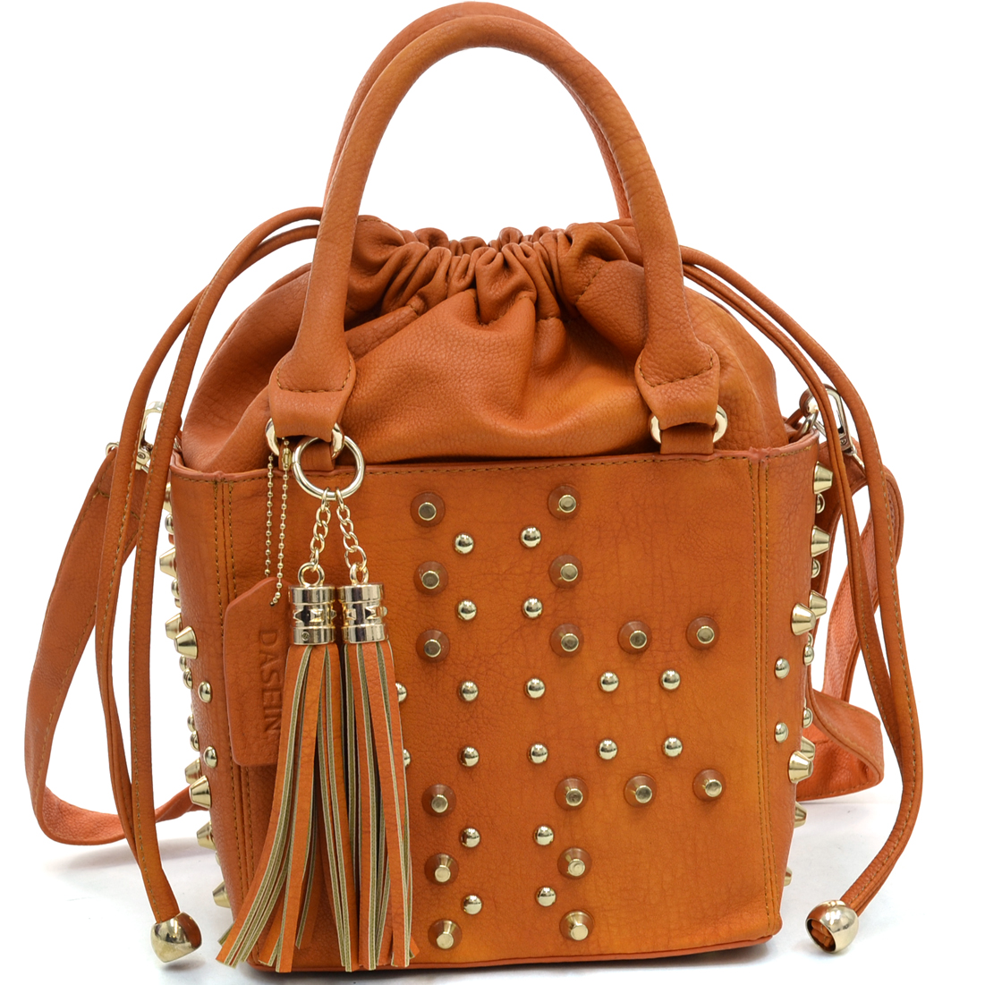 Dasein® Petite Studded Drawstring Satchel With Tassels