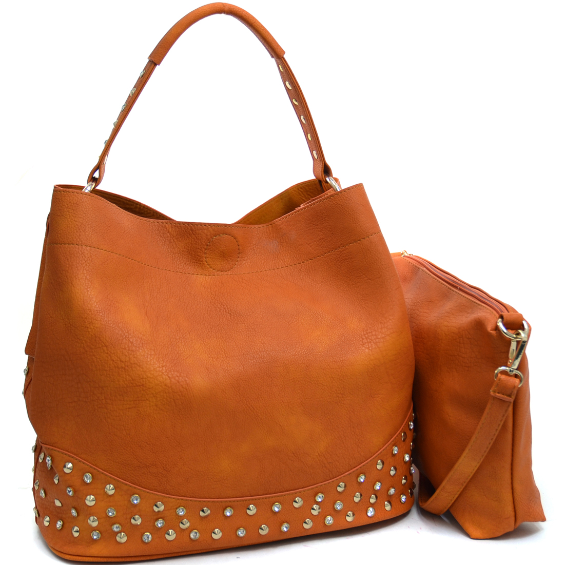 Dasein® Rhinestone Studded 2 in 1 Hobo Bag