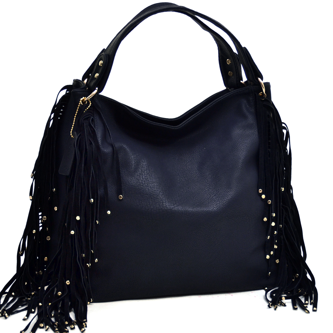 Dasein® Studded Fringe Fashion Hobo