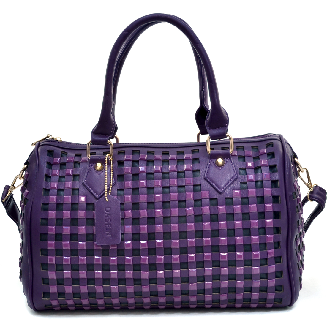 Dasein® Cutout Barrel Satchel With Square Studs